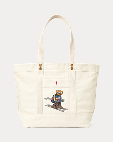 Tote media in tela con Polo Bear