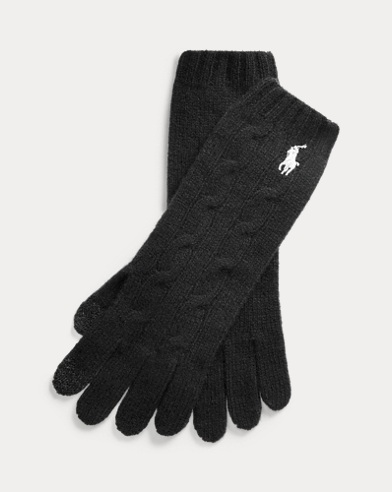 Cable-Knit Wool-Blend Gloves
