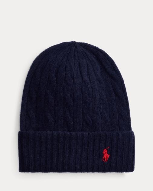 Cable Knit Wool Blend Hat by Ralph Lauren
