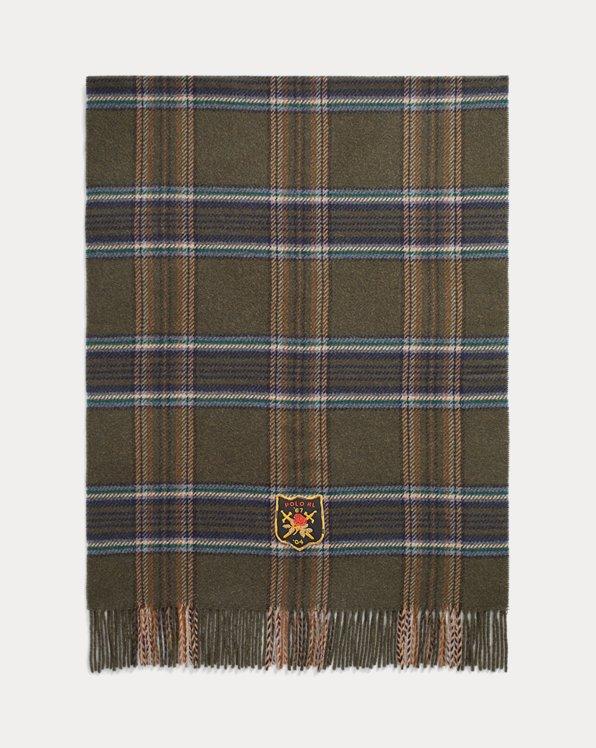 Écharpe écusson motif tartan laine