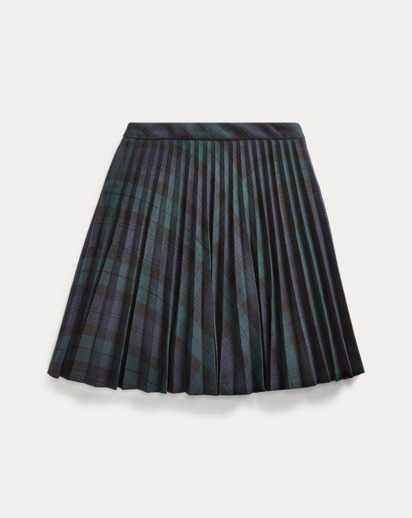Tartan Pleated Twill Skirt