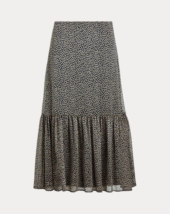Print Georgette Tiered Skirt
