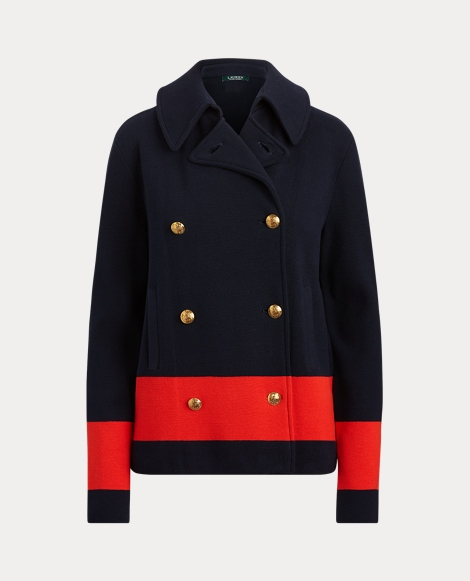 Color-Blocked Cotton Peacoat