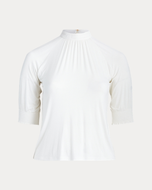 Polo RalphLauren Lace-Trim Jersey Mockneck Top