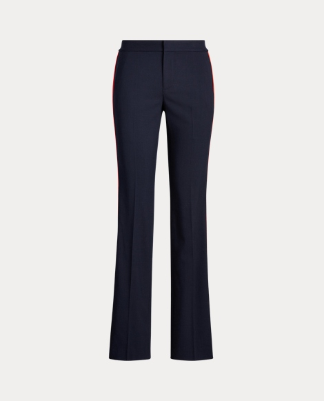 Side-Stripe Wool-Blend Trouser