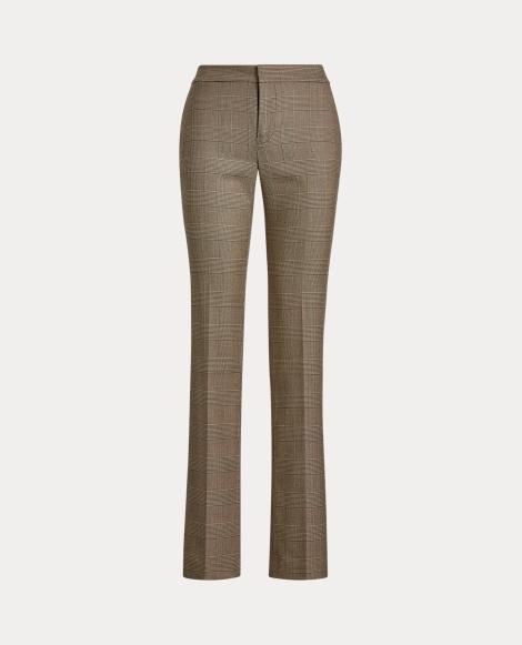 Glen Plaid Straight-Leg Trouser