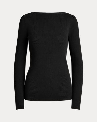 Puff-Sleeve Boatneck Sweater