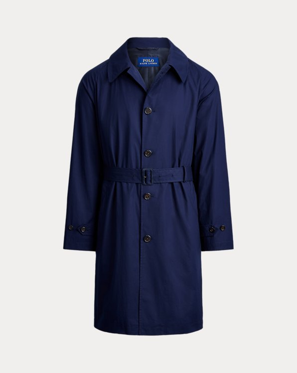 Trench balmacaan en coton stretch