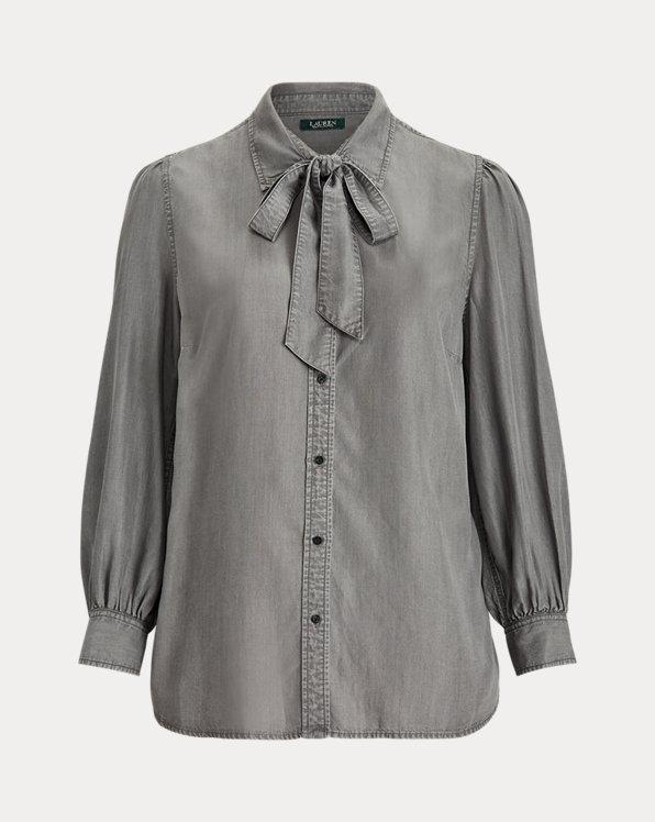 Necktie Buttoned Blouse
