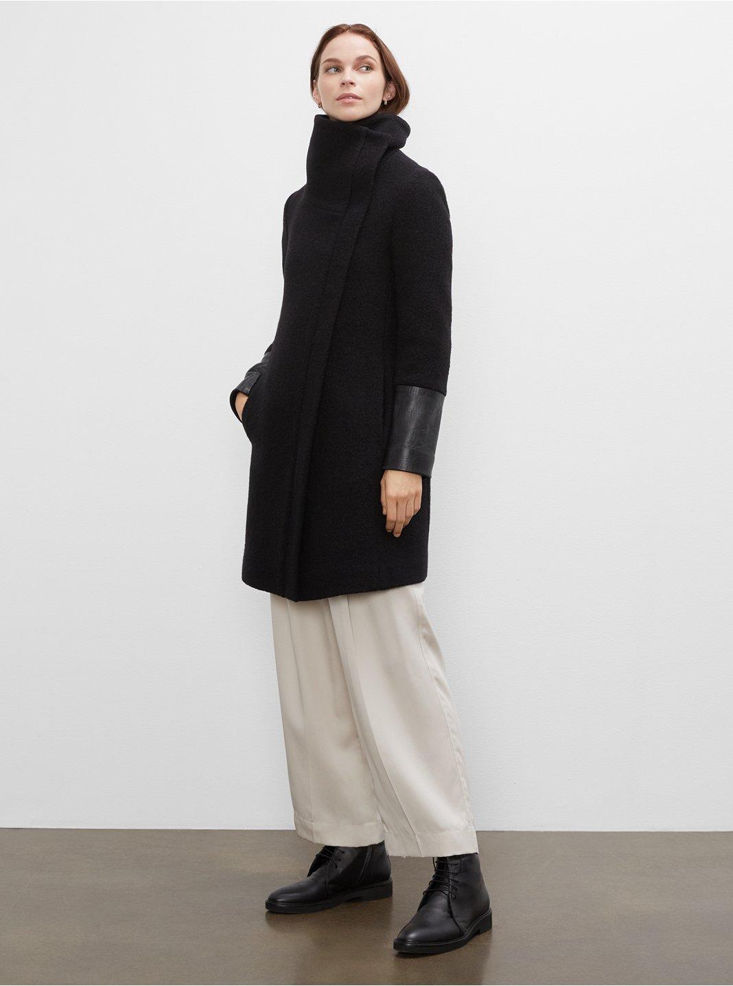Manteau garniture en cuir Halli