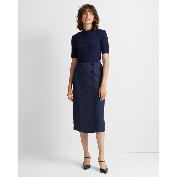 Club Monaco NAVY BUTTON-FRONT PENCIL SKIRT IN SIZE 12