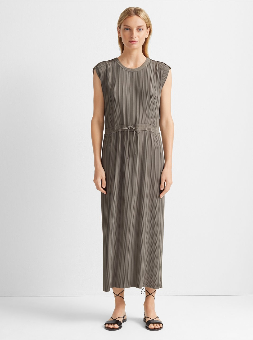 Woven Pleated Maxi Dress