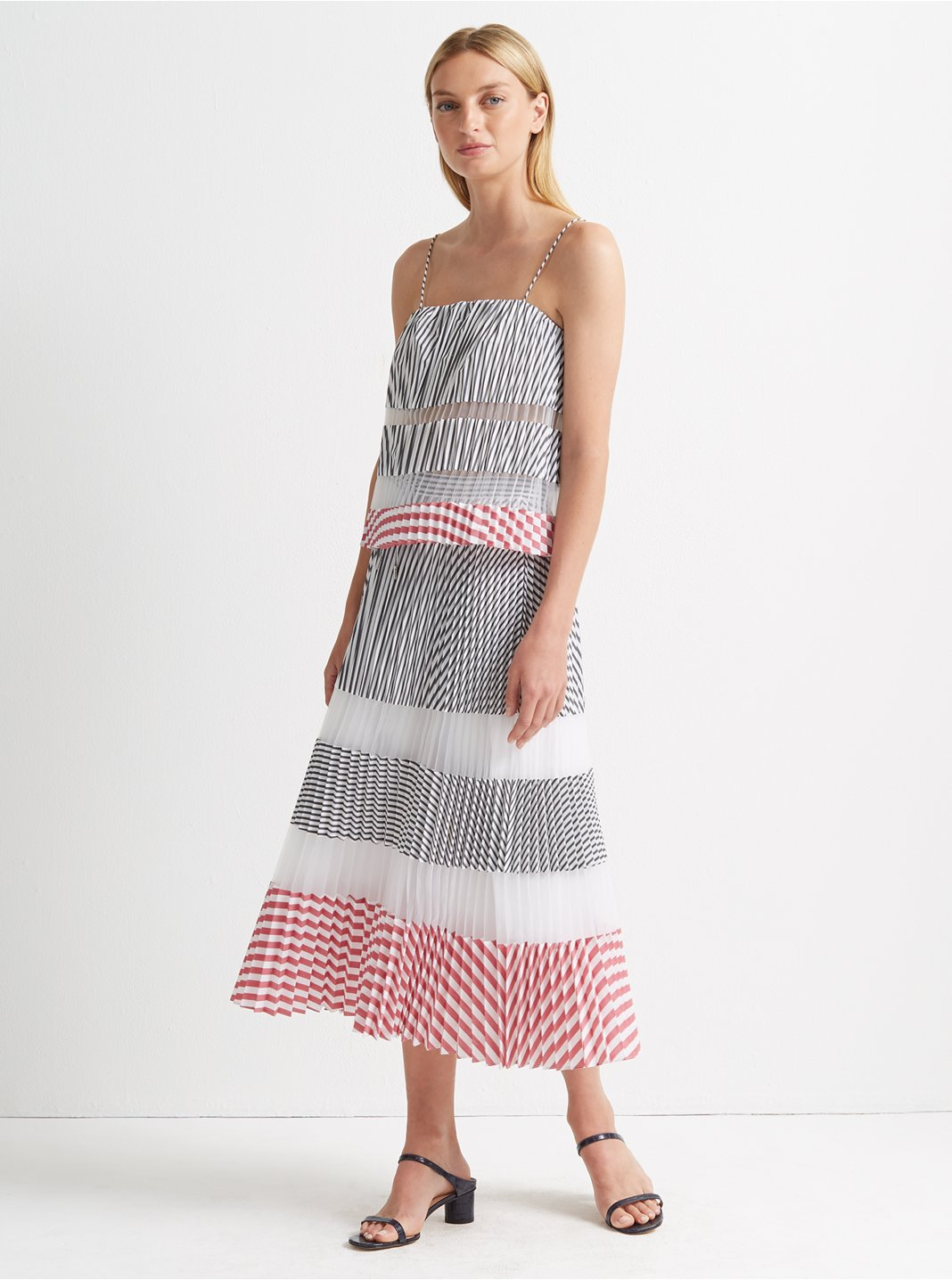 Pleated Midi Stripe Skirt