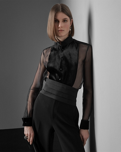 Silk Organza Wingtip Shirt