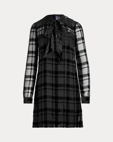Mitchel Plaid Necktie Dress