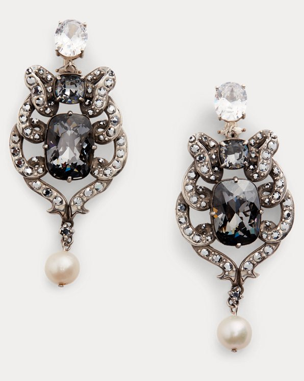 Crystal-Pearl Bow Earrings