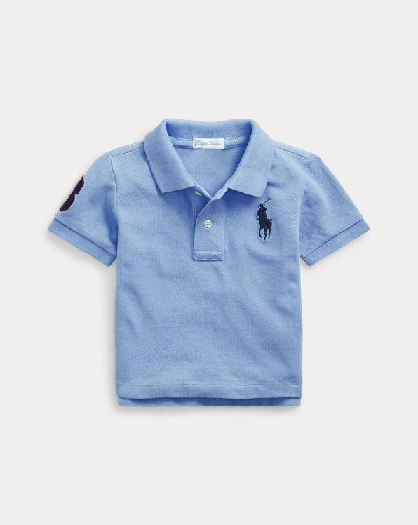 RALPH LAUREN cotton mesh baby Boy polo shirt BIG PONY 3 to 24 Months blue white