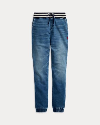 Pantalón jogger de tela vaquera elástica