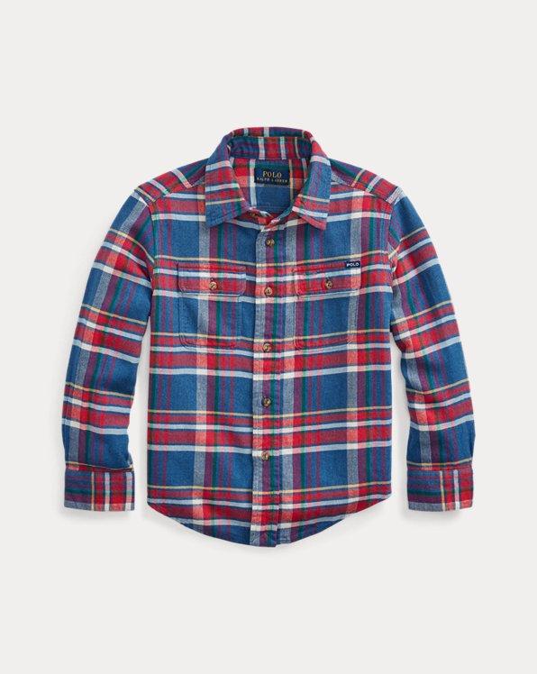 Camisa de trabajo de sarga de algodón a cuadros