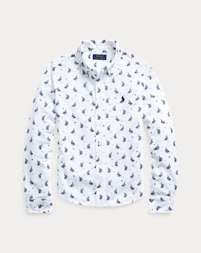 Sailboat-Print Mesh Shirt