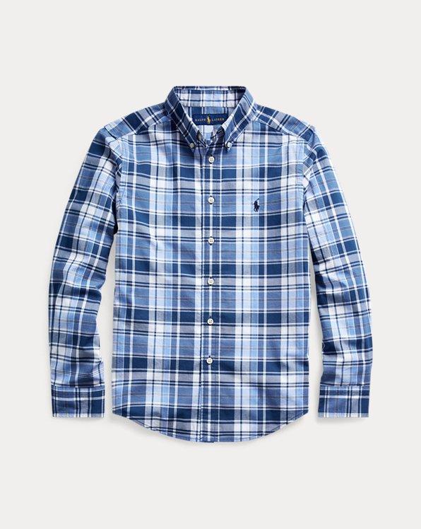 Camisa en popelina de algodón a cuadros