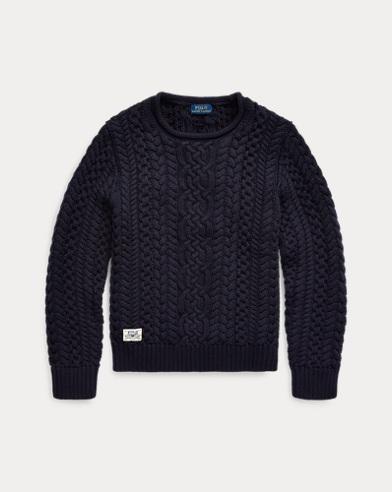 Aran-Knit Cotton Jumper