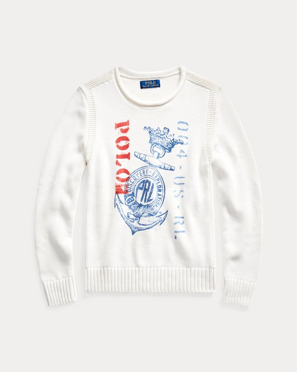 Anchor-Print Cotton Jumper