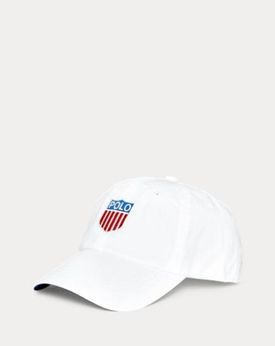 Gorra en sarga de algodón con escudo de Polo