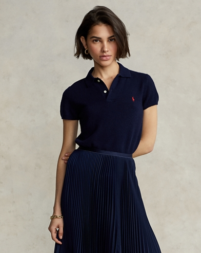 Ribbed-Hem Cashmere Polo Shirt