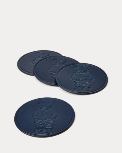 Polo Bear Leather Coaster Set