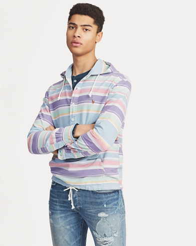 Striped Hooded Popover Shirt