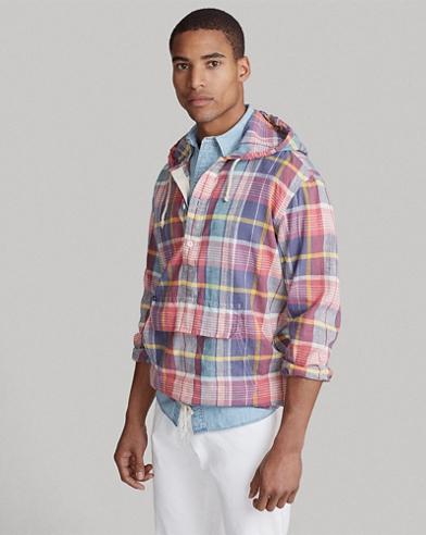 Madras Hooded Popover Shirt