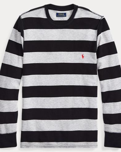 Striped Waffle-Knit Crewneck