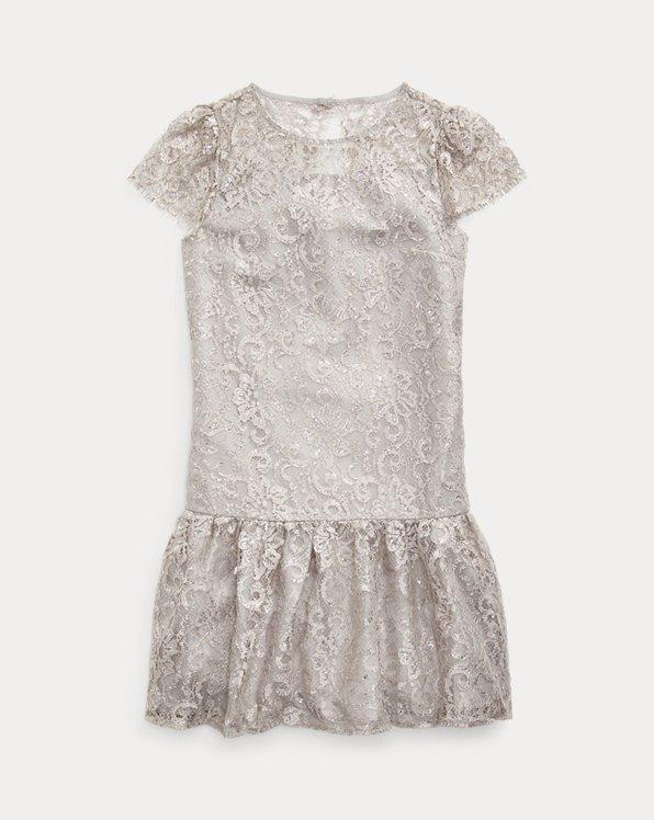 Metallic Lace Drop-Waist Dress