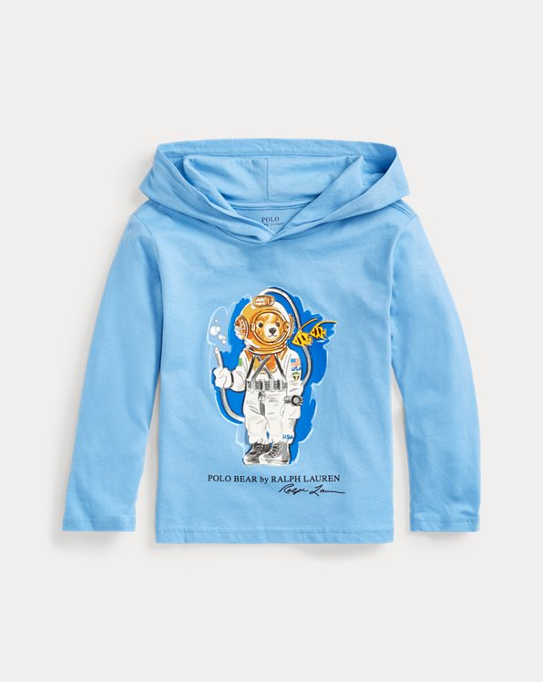 Diving Bear Cotton Hooded Tee