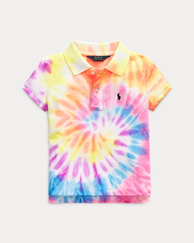Tie-Dye Mesh Polo Shirt