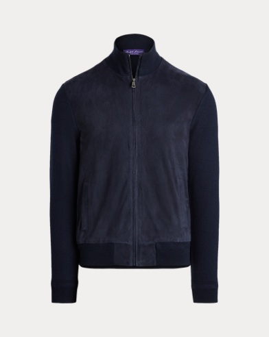Suede-Front Full-Zip Sweater