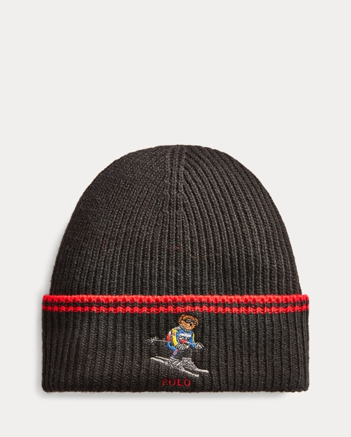 Ski Bear Rib Knit Hat by Ralph Lauren