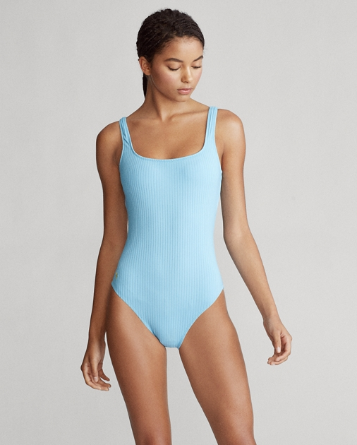 Polo Ralph Lauren Ribbed Scoopback One-Piece 1