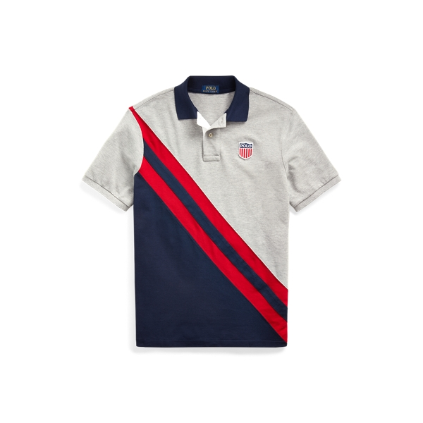 폴로 랄프로렌 Polo Ralph Lauren Classic Fit Shield Polo Shirt,Andover Heather Multi