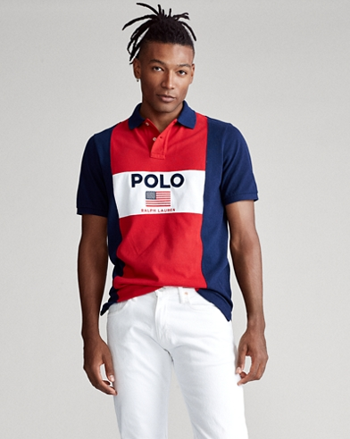 Custom Slim Fit Flag Mesh Polo