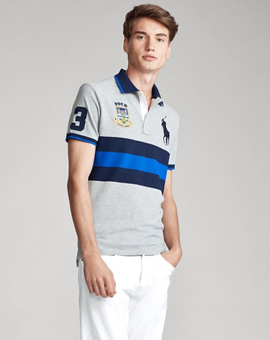Striped Big Pony Polo Shirt - All Fits
