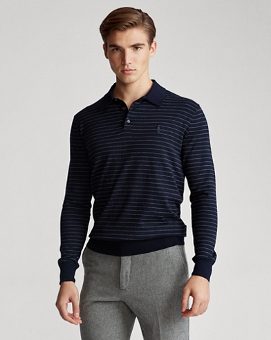 Striped Cotton Polo Sweater
