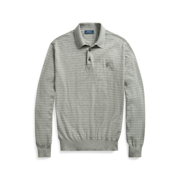 폴로 랄프로렌 Polo Ralph Lauren Cotton Polo-Collar Sweater,Fawn Grey Heather