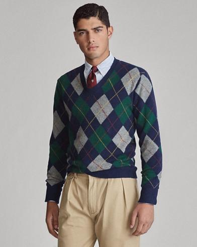 Argyle Wool-Cashmere Sweater