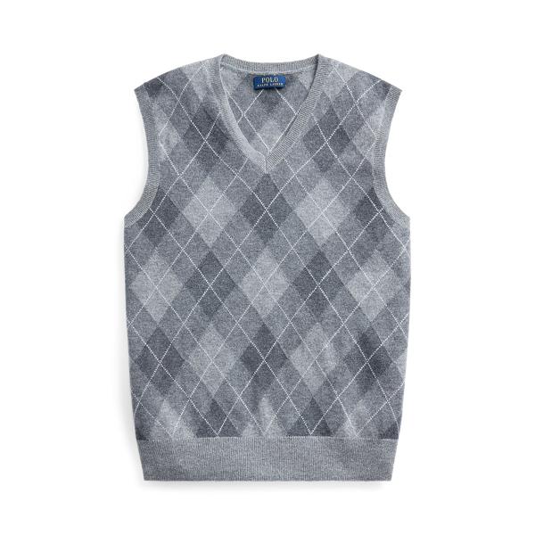폴로 랄프로렌 Polo Ralph Lauren Argyle Cashmere Sweater Vest,Grey Multi