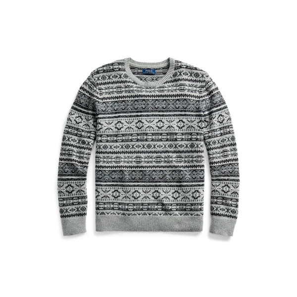 폴로 랄프로렌 Polo Ralph Lauren Fair Isle Cotton-Blend Sweater,Grey Fairisle