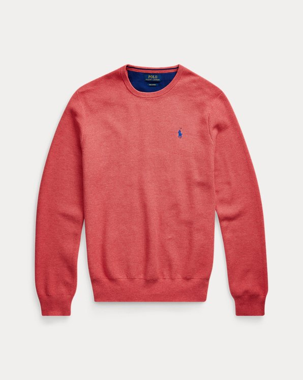 Cotton Mesh Crewneck Sweater