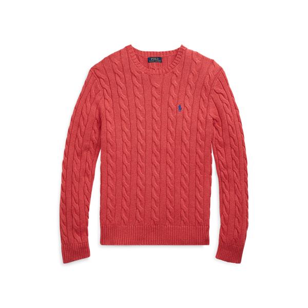폴로 랄프로렌 맨 꽈배기 니트 스웨터 - 레드 (윤계상 착용) Polo Ralph Lauren Cable Knit Cotton Sweater,Rosette Heather 515061