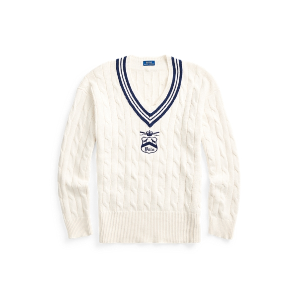 폴로 랄프로렌 Polo Ralph Lauren Embroidered Cricket Sweater,Cream/Newport Navy